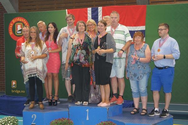 Norwegian Bridge Festival 2018: mixed teams medal winners
