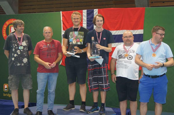 Norwegian Bridge Festival 2018: swiss pairs medal winners