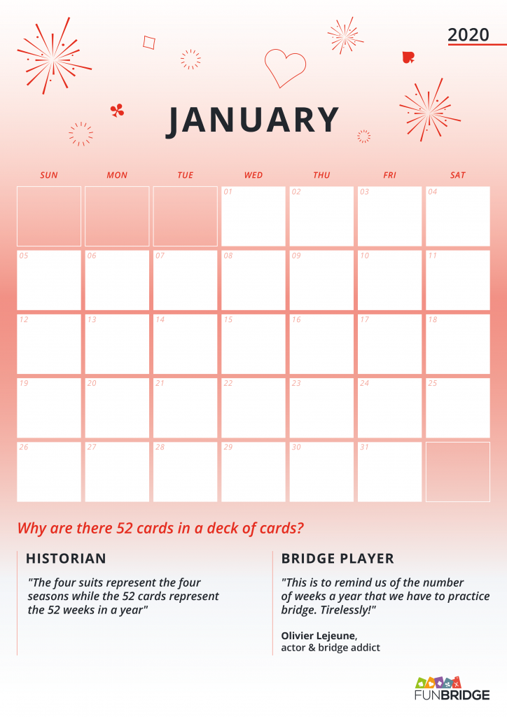 bridge calendar january 2020