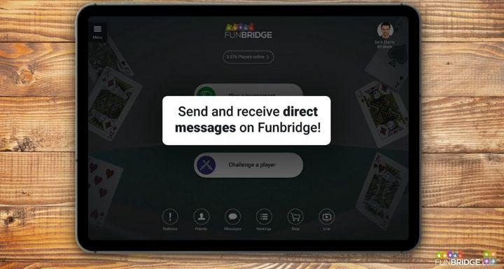 Envoyer des messages privés sur Funbridge