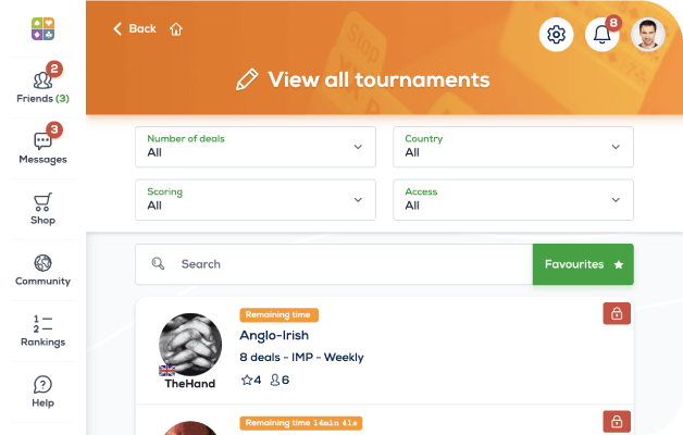 private tournaments screen-funbridge for web browsers